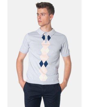 Merc London Ansell Argyle Pattern Knitted Men's Polo Shirt in Boy Blue