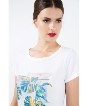 Conquista Short Sleeve White Top with Multicoloured Print