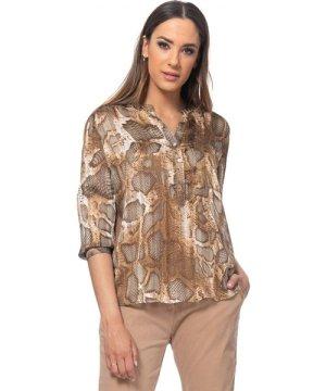 Tantra Snake print blouse with lurex, v neck and pocket