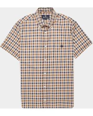 Men's Aquascutum York Short Sleeve Shirt Brown, Brown