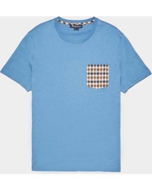 Men's Aquascutum Club Check Pocket Short Sleeve T-Shirt Blue, Blue