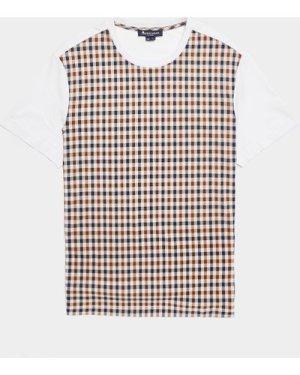 Men's Aquascutum Greg Club Check Short Sleeve T-Shirt White, White