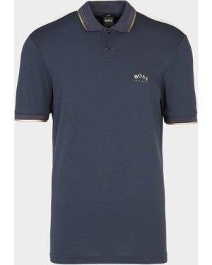 Men's BOSS Paul Curved Logo Polo Shirt Multi, Navy/Gold