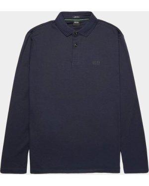 Men's BOSS Pirol Mercerised Long Sleeve Polo Shirt Blue, Navy/Navy