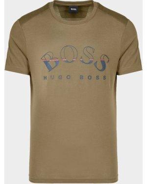 Men's BOSS Tee 1 Curve Short Sleeve T-Shirt Green, Green