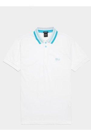 Men's BOSS Paddy Stripe Collar Short Sleeve Polo Shirt White, White