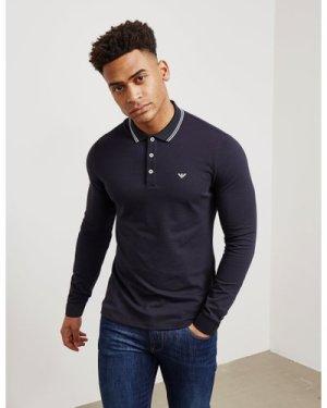 Men's Emporio Armani Tipped Long Sleeve Polo Shirt Blue, Navy