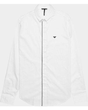 Men's Emporio Armani Tipped Placket Long Sleeve Shirt White, White