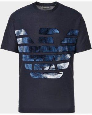 Men's Emporio Armani Large Cloud Eagle T-Shirt Blue, Navy/Navy