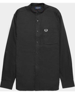 Men's Fred Perry Grandad Collar Long Sleeve Shirt Black, Black/Black