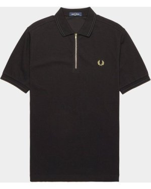 Men's Fred Perry Zip Neck Short Sleeve Polo Shirt Multi, Black/Gold