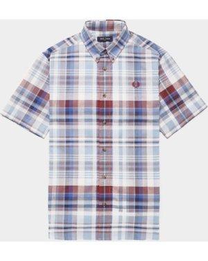 Men's Fred Perry Tartan Short Sleeve Shirt Blue, Blue/Blue
