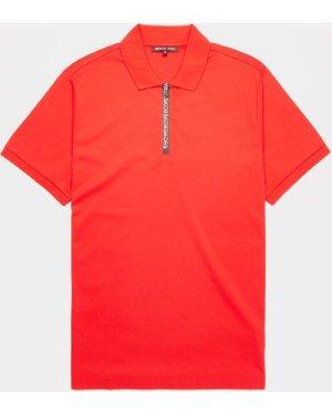 Men's Michael Kors Logo Tape Short Sleeve Polo Shirt Red, Red/Red