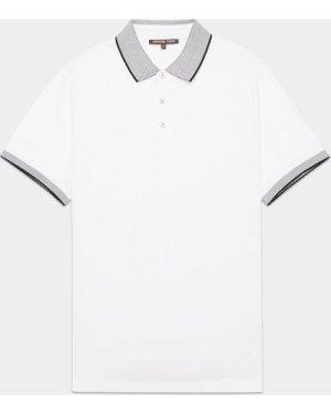 Men's Michael Kors Logo Collar Short Sleeve Polo Shirt White, White/White