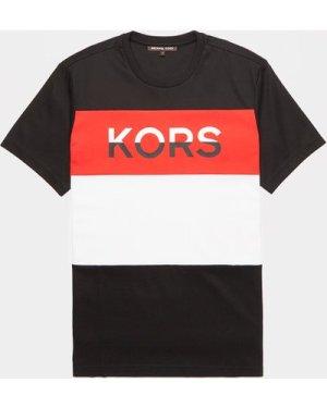 Men's Michael Kors Block Logo Short Sleeve T-Shirt Multi, Black/White/Red
