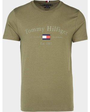Men's Tommy Hilfiger Archive Flag Short Sleeve T-Shirt Green, Olive/Olive