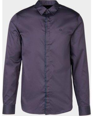 Men's Armani Exchange Trim Placket Long Sleeve Shirt Blue, Navy