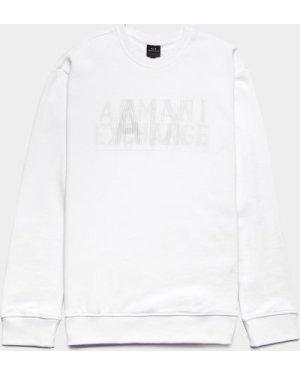 Men's Armani Exchange Rubber Logo Sweatshirt White, White