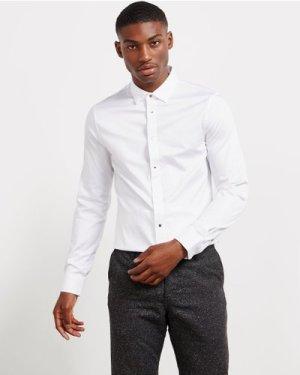 Men's Armani Exchange Pop Button Long Sleeve Shirt White, White
