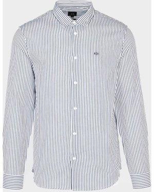 Men's Armani Exchange Stripe Dobby Long Sleeve Shirt White, White