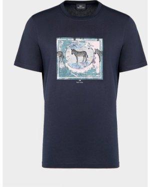 Men's PS Paul Smith Antique Zebra T-Shirt Blue, Navy