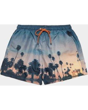 Men's BOSS Springfish Palm Swim Shorts Blue, Blue