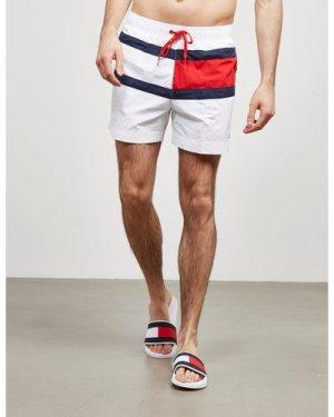 Men's Tommy Hilfiger Flag Front Swim Shorts White, White
