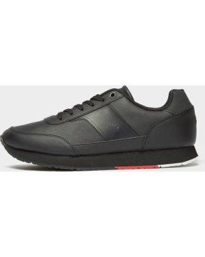 Men's Tommy Hilfiger Leeds Leather Trainers Black, Black/Black