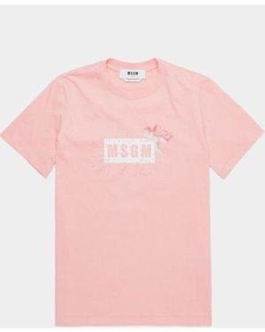 Women's MSGM Cupid Box Short Sleeve T-Shirt Pink, Peach