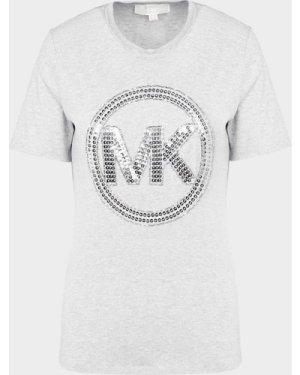 Women's Michael Kors Sequin Logo T-Shirt Grey, Grey/Grey
