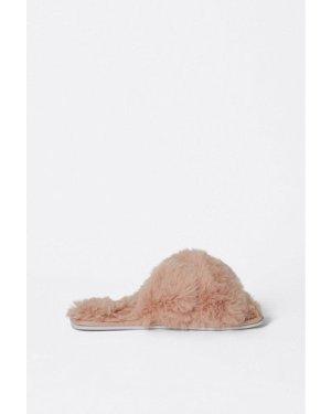 Womens Cross Front Furry Slippers - blush, Blush
