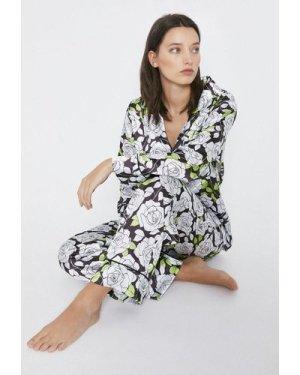 Womens Floral Print Pyjama And Eyemask Set - black, Black