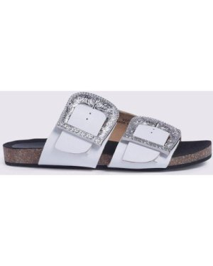 Womens Western Buckle Footbed - white, White