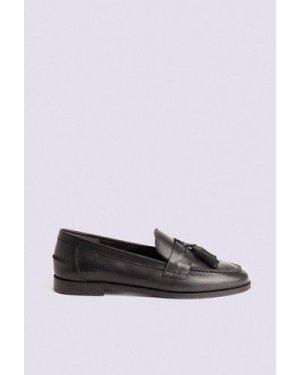 Womens Leather Tassel Loafer - black, Black