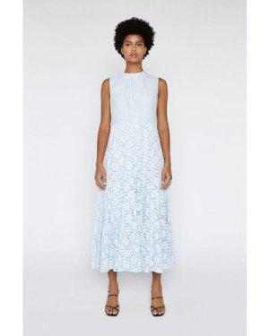 Womens Lace Tiered Dress - light blue, Light Blue