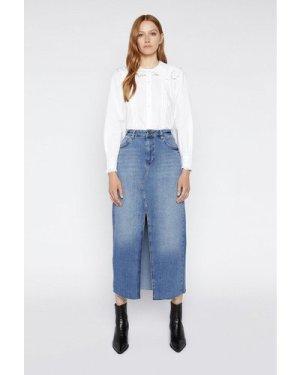Womens Split Front Denim Skirt - mid wash, Mid Wash
