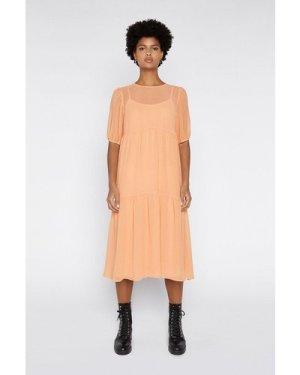 Womens Textured Tiered Maxi Dress - orange, Orange