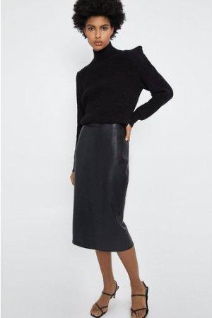Womens Faux Leather Pencil Skirt - black, Black