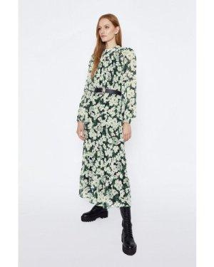 Womens Tiered Chiffon Midi Dress - green, Green