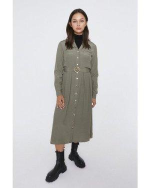 Womens Button Detail Shirt Dress - khaki, Khaki