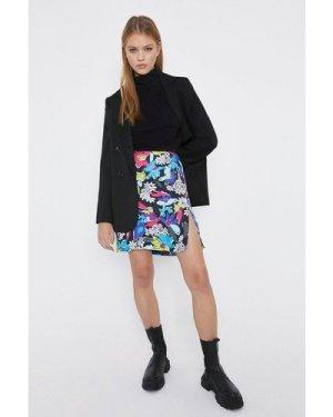 Womens Side Split A-Line Mini Skirt - black, Black