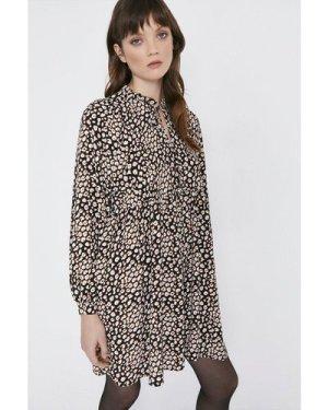 Womens Animal Print Tie Neck Oversized Dress, Animal