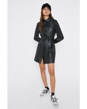 Womens Leather Shirt Dress - black, Black
