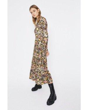 Womens Printed Tiered Funnel Neck Midi Dress - multi, Multi