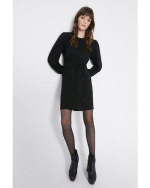 Womens Soft Tie Belt Tailored Dress - black, Black