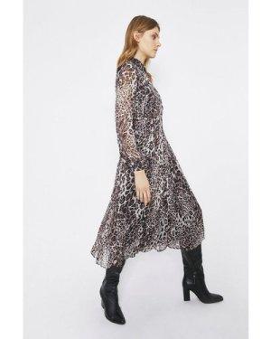 Womens Pleated Midi Dress - leopard, Leopard