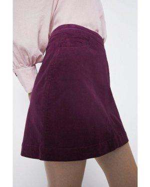 Womens Cord Pocket Detail Mini Skirt - berry, Berry