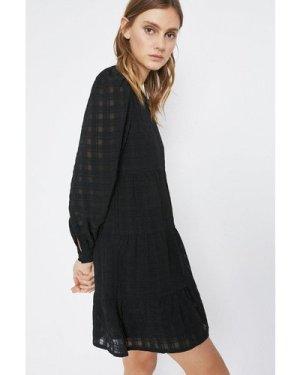Womens Textured Check Mini Dress - black, Black