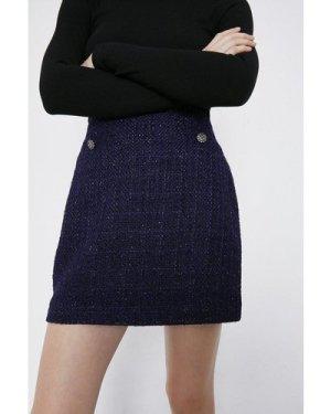 Womens Tweed Pelmet Skirt - navy, Navy