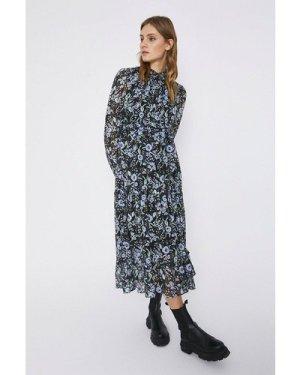 Womens Tiered Midaxi Floral Dress - black, Black